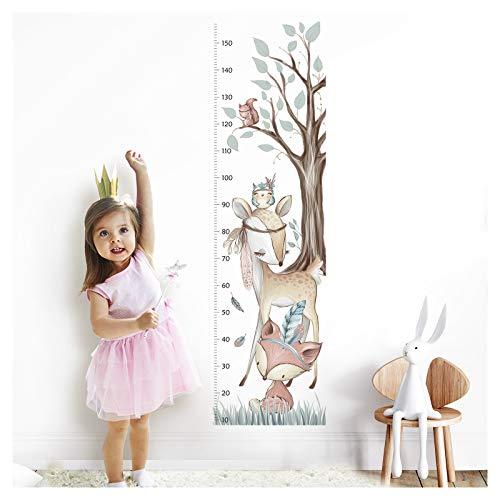 Little Deco Wandaufkleber Kinderzimmer Junge Mädchen Messlatte | 150cm Fuchs REH Wald | Tiere Wandtattoo Kinder Wandsticker Aufkleber Dekoration DL350