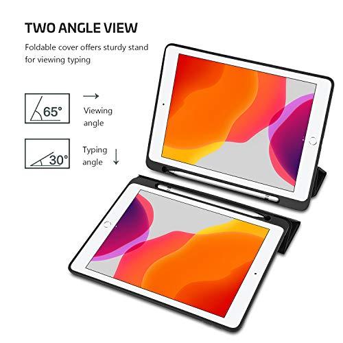 ProCase Klapp Hülle mit Stifthalter für iPad 10.2 Zoll 8th Gen 2020/ 7th Gen 2019, Dünn Leicht Schutzhülle Ständer mit Flexibler Weicher TPU-Rücken -Schwarz