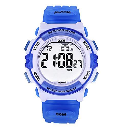 OTS - Reloj Deportivo de Estudiantes Jovenes Reloj de Pulsera Digital a Prueba de Agua para Ducharse Relojes Electrónico de Luces de Noche Coloridas para Niño Azul Claro
