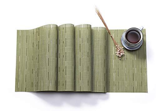 HYSENM Tischläufer abwaschbar PVC Deko einfarbig 30 x 180cm für Wohnzimmer Esszimmer (Grün, 1 x Tischläufer)