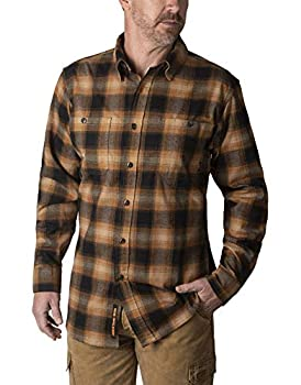 Walls Men s Longhorn Long Sleeve Midweight Stretch Flannel Shirt Rustic Pecan Ombre Large