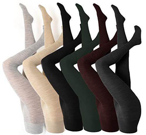 ROGO Damen Wool Wolle Strumpfhose, Schurwollmischung, 1 Paar, versch. Farben, Größe S-XL - Komfortbund, blickdicht Winter schwarz grau beige - bis Gr. 62, Größe:40/42, Farben alle:tabac