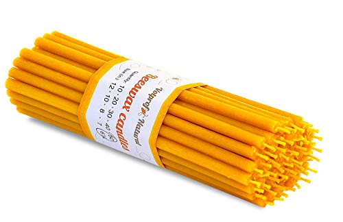 50 Natural 100% Pure Raw Beeswax Taper Candles ( 6') Natural Honey Scent Birthday Cake, Dripless, Smokeless, Nontoxic, Natural Cotton Wick