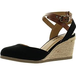 Soda Womens Request Closed Toe Espadrille Wedge Sandal in Black Dark Tan Linen,Black/Dark Tan,7