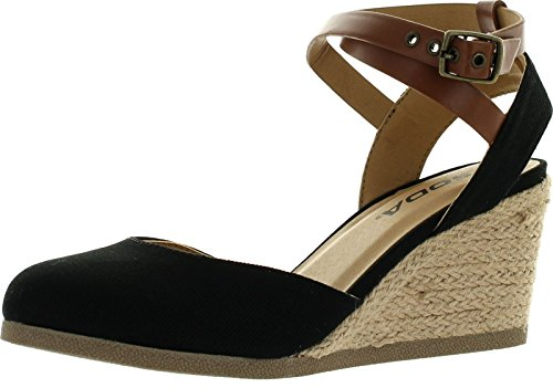 SODA Womens Request Closed Toe Espadrille Wedge Sandal in Black Dark Tan Linen,Black/Dark Tan,10
