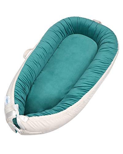 ChildLike Baby Lounger Infant Floor Seat Original Newborn Lounger Portable Newborn Baby Bed/Baby Sleeper/Baby Nest with Pillow Softness-Parent Co Sleeper for Soothing Baby Sleep (Dark Green))