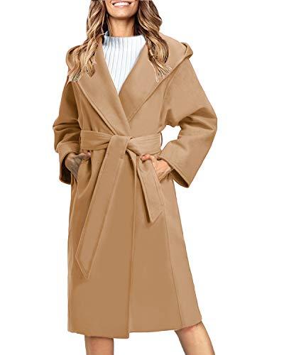 Auxo Women Trench Coat Long Sleeve Pea Coat Lapel Open Front Belted Long Jackets Overcoat Outwear Light Camel S