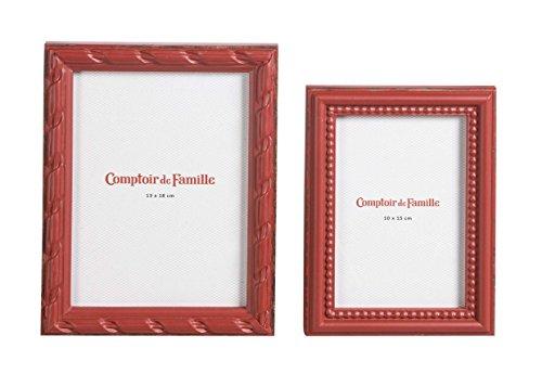 Comptoir de Famille 161920 Cadres Photos Palatine, Lot de 2, Paulownia, Rouge, 25x25x25 cm