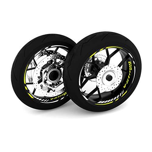 Motostick Graphics Adhesivo adhesivo para rueda compatible con V-Storm de 650 pulgadas, pinchos de 4 pulgadas (amarillo neón)