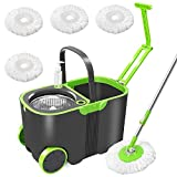 Spin Mop and Bucket Floor Cleaning Set with 4 Mop Pads Refills , 13L Bucket ,Telescopic Stainless Steel and Hand Detergent Dispenser