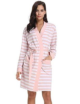 Hawiton Women's Cotton Bathrobe Stripe Long Sleeve Kimono Robe Sleep Nightgown Robes