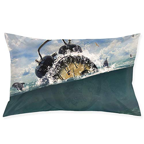 Zcfhike Pillow Case 20'X30' Ocean Alarm Clock Art Double Printed 100% Polyester Standard Pillowcases Super Soft Cover for Home Decorative Sleeping
