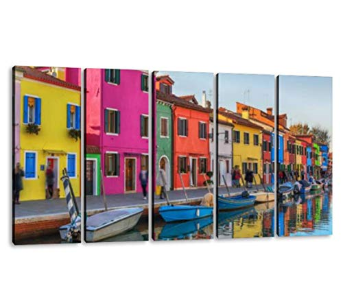 KiiAmy 5 Panels Art Wall Decor Colorful Buildings of burano, Italy Saturation Artwork Modern Canvas Prints Office Bedroom Home Decor Framed Painting Ready to Hang (60''Wx32''H)