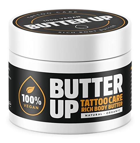 Butter Up Tattoo Aftercare - Heals & Brightens Tattoos, Vegan, Natural, Organic, Cruelty Free, Rich Creamy Body Butter 100ml