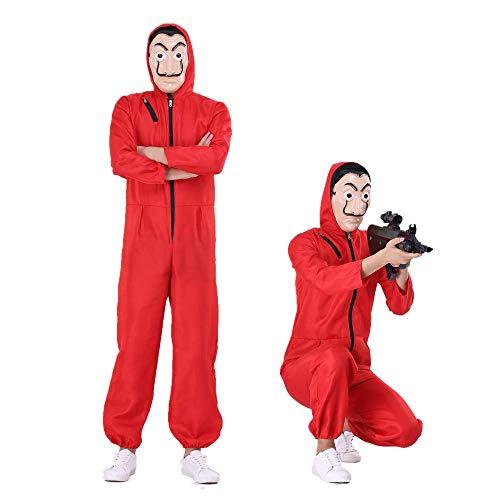Much-Green Haus des Geldes Kostüm Overall mit Dali Maske Cosplay für Erwachsene ,Kostüm mit Dali Maske für Karneval,Halloween(Größe L)