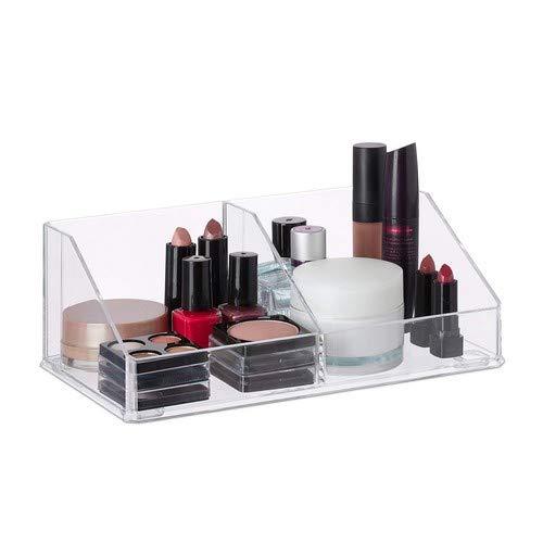 Relaxdays Make-up Organizer aus Acryl, kleine Schmink Aufbewahrung mit 2 Fächern, Kosmetik Organizer, Bad, transparent