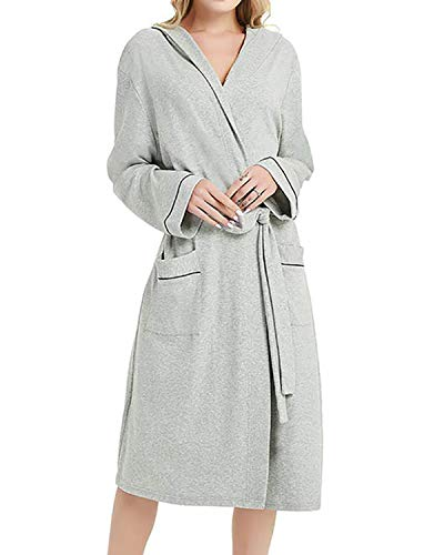 LAPAYA Women's Cotton Robe Lightweight Knee Length Long Sleeve Hooded Kimono SPA Bathrobe, Grey, Medium