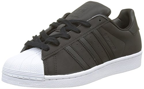 adidas Women's Superstar W Low-Top Sneakers, Black (Core Black/core Black/FTWR White), 4 UK
