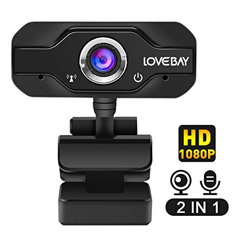 Lovebay HD Webcam Desktop Laptop USB Plug & Play 1080P Web Camera for Live Class Conference Rotatable Video Camera Desktop Laptop Webcams