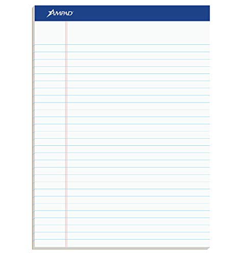 Ampad 20320 Perforated Writing Pad, 8 1/2 x 11 3/4, White, 50 Sheets (Pack of 12)