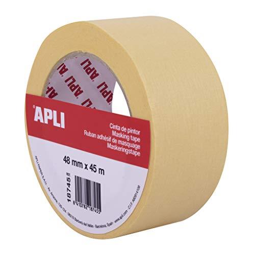 APLI 18745 - Rollo cinta de pintor o carrocero 48 mm x 45 m formato individual. Papel de 57 g/m². Resistente hasta 60º