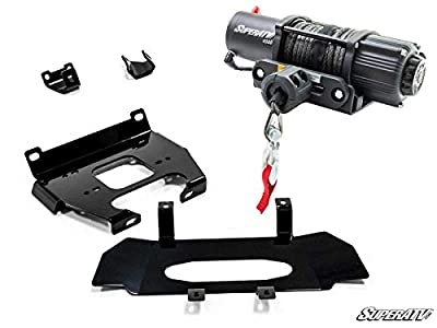 SuperATV 4500 lb Black Ops Winch with Heavy Duty Winch Mounting Plate for 2019+ Polaris RZR XP 1000 / RZR XP4 1000   Complete Winch & Winch Mount Kit ready for install!