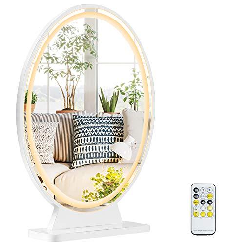 COSTWAY LED Tischspiegel mit 4 Beleuchtungsmodi, Kosmetikspiegel mit einstellbare Helligkeit, Makeup Spiegel mit Fernbedienung, inkl. Montagezubehör und - Werkzeuge
