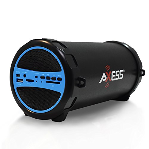 AXESS SPBT1031BL Portable Bluetooth Indoor/Outdoor 2.1 Hi-Fi Cylinder Loud Speaker with Built-In 3' Sub and SD Card, USB, AUX Inputs in Blue