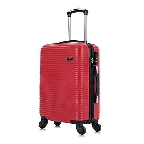 Vallexy Set di valigie Leggera Valigetta con guscio rigido Shell Bagaglio a mano(55X40X20 CM)(Rosso-55cm)