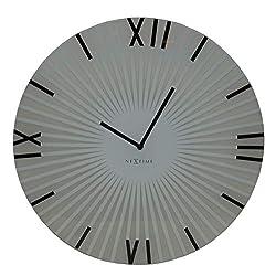 NEXTIME Unek Goods Sticks Wall Clock, Battery Operated, Medium Round, Glass, White