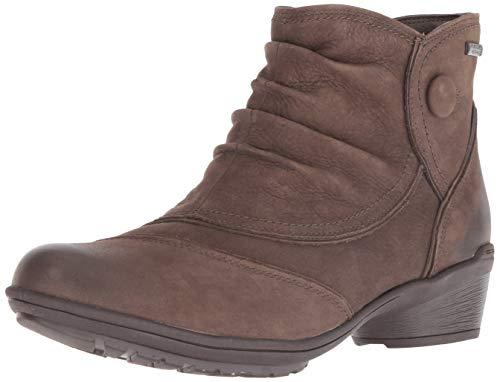 Rockport Women's Raven Button Boot Ankle, Stone Nubuck Waterproof, 6.5 M US