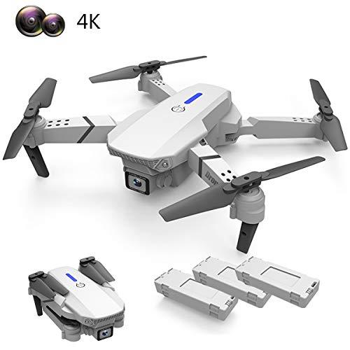 APJS Drone de Fotografía con Cámara Ajustable en Vivo 4K, 2.4G WiFi FPV Cuadricóptero Plegable RTF, 4 Canales 6 Axis Drones, 3 Modos de Vuelo, Modo Órbita, Duración 3 Batería 45 Minutos