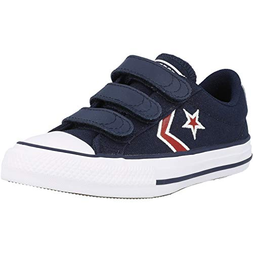 Converse Star Player 3V Ox Embroidered Blu/Rosso (Obsidian/University Red) Tessuto 32 EU