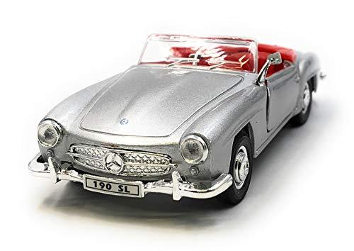 Onlineworld2013 Modellauto 190 SL Oldtimer Silber Cabrio Auto Maßstab 1:34-39 (lizensiert)