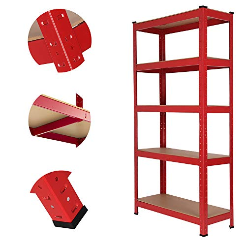 150cm x 70cm x 30cm 5 Tier Boltless Garage Shelving Unit, Heavy Duty Racking Storage Shelves, 175KG Per Layer, Ideal for Kitchen, Workshop, Office, Shed, Red, UK Store