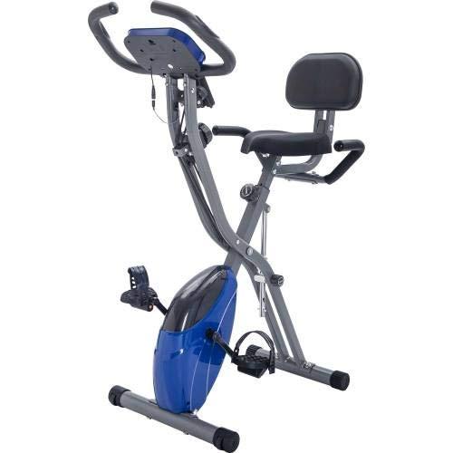 TAHMM Brazaletes y respaldo, bicicleta vertical y acostada X-Bike con resistencia ajustable de 10 niveles, bicicleta estática plegable (color azul)