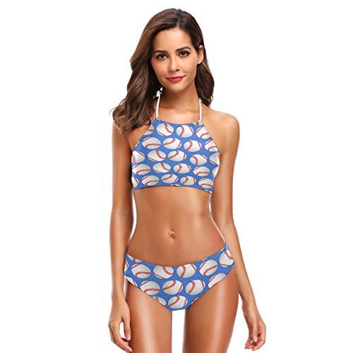 Bigjoke Damen-Bikini, Baseball-Muster, Neckholder, hoher Halsausschnitt, 2-teilig, gepolstert, Badeanzug-Set für Erwachsene, Teenager, Mädchen, S-XXL Gr. L, mehrfarbig
