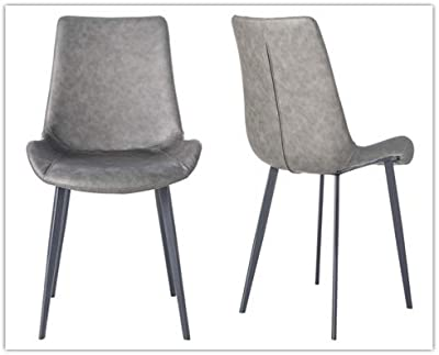 Internet Sensation Home Scandinavian Adult Desk Chairs Saddle Leather for Houses Living Dining Waterproof(Pack for 2) (Grey)