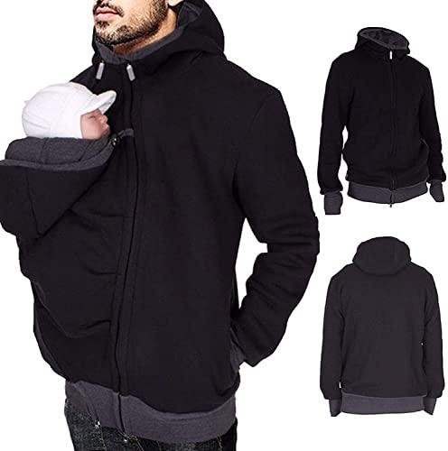 Men' s Kangaroo Hoodie Sweatshirt Zip Up Jacket for Baby Carriers yfdd-10-16 (Color : Black, Size : Large)