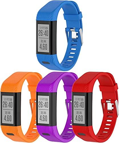 Chainfo Compatible con Garmin Vivosmart HR+ Plus/Approach X10 / Approach X40 Correa de Reloj, Banda de Reemplazo Silicona Suave Sports Pulsera (4-Pack J)