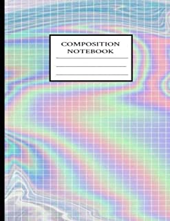 Composition Notebook: Squared Holographic Effect Composition Notebook 8.5''x11'' Extra Large College Ruled Notebook; Journal
