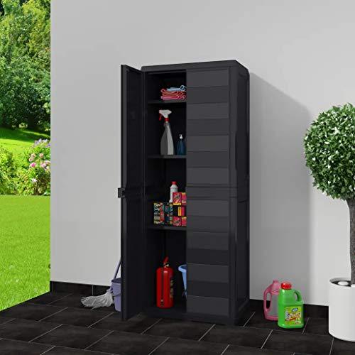 Cikonielf Hochschrank für den Außenbereich, wasserdicht, 65 x 38 x 171 cm, Gartenschrank mit 2 Türen und 3 verstellbaren Einlegeböden, belüftet, Balkonschrank aus Polypropylen, Schwarz