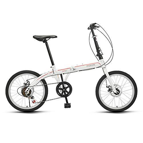 Bicicleta, Bicicleta Plegable PortáTil de 20 Pulgadas, Bicicleta de CercaníAs de 6 Velocidades, Marco de Bajo Alcance, Altura Del Asiento Ajustable, para Trabajadores de Oficina/Estudiantes