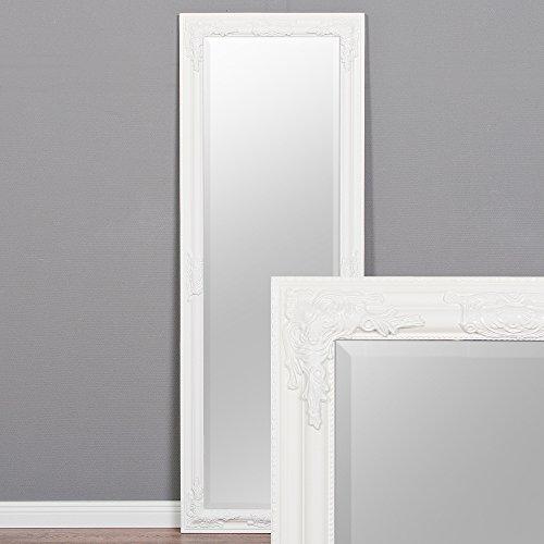 LEBENSwohnART Wandspiegel BESSA weiß-pur 140x50cm barock Design Spiegel pompös Holzrahmen