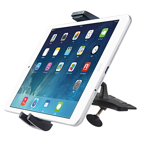 """Tablet CD Slot Mount, DHYSTAR CD Player Car Holder Cradle Bracket Stand for 7-10"""" Tablets,3.5-6"""" Cell Phones, GPS Devices, Adjustable 360 Rotation, Easy Release 2-in-1 Tablet / Phone Clamps"""