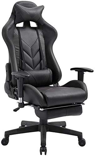 Dratal Office Chair PC Gaming Chair Ergonomic Desk Chair Executive PU Leather Computer Chair Lumbar Support with Footrest Modern Task Rolling Swivel Racing Chair for Women & Men, Black