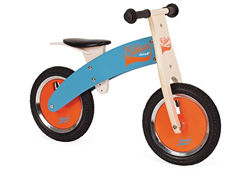Janod 03265 - Laufrad aus Holz, höhenverstellbarer Sitz von 40 bis 44 cm, aufblasbare Reifen, blau/orange