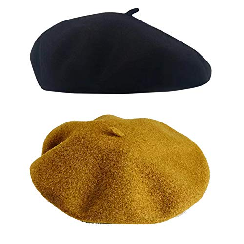 SIEBENEINSY Klassische Baskenmützen Damen Wollmütze französischer Hut Damenmütze Baske Beret Cap 2pcs Beanie Maler Kappe, Farbe: Schwarz&Gelb, Size One size