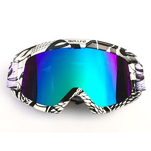HONCENMAX Motorrad Brille Mit Abnehmbarer Gesichtsmaske Harley Stil Helm Nebelfest Winddicht Reiten Sonnenbrille