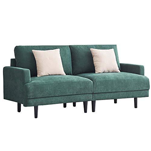 MUNCASO - Sofá de 2 plazas, pequeño y moderno, de tela, 2 plazas, con función de dormir, cuadrado, con reposabrazos, sofá tapizado, 180 cm, color esmeralda